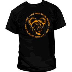 Camiseta GNU Live Free or Die Hacking