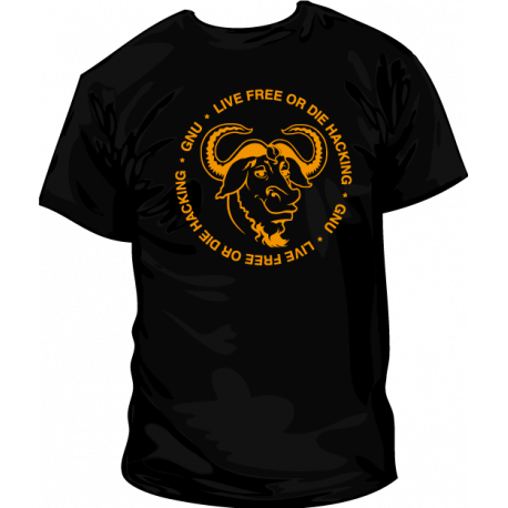 Camiseta GNU Live Free or Die Hacking