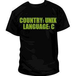 Camiseta Country: UNIX, Language: C